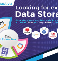 How DataArchiva is using connectors to store archived Salesforce data in various external storage systems?